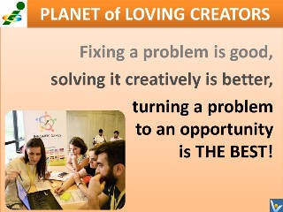 Turn problems to opportunity quotes Vadim Kotelnikov Innompic Planet of Loving Creators