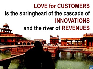 Vadim Kotelnikov quotes photogram, Love for customers is the springhead of the cascade of innovations and the river of revenues.