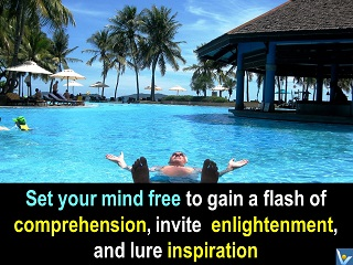 Relax, Set your mind free, meditation in swimming pool, inspiration, enlightenment, Vadim Kotelnikov, Borneo