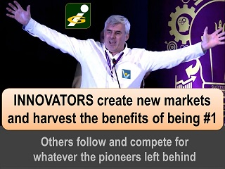 Innovators create new markets and harvest the benefits of being #1 Vadim Kotelnikov quotes