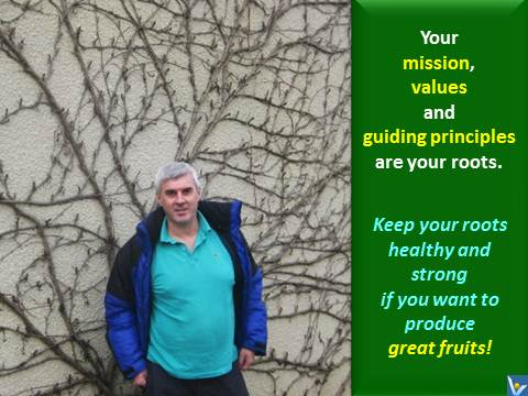 Your mission, values and guiding principles are your roots. Keep your roots healthy and strong if you want to produce great fruits! Vadim Kotelnikov quotes