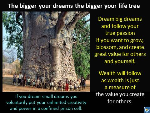 The bigger your dreams the bigger your life tree. Vadim Kotelnikov quotes. If you dream small dreams you voluntarily put your unlimited creativity and power in a confined prison cell. Dream big dreams and follow your true passion if you want to grow, blossom, and create great value for others and yourself. Wealth will follow as wealth is just a measure of the value you create for others.