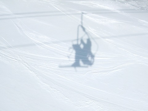 Shelfie, shadow-based selfie: Aerial Ski Lift, Vadim Kotelnikov, creative selfies